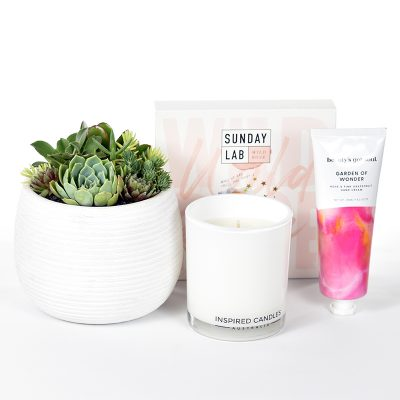 Gift box with succulent plants in ceramic bowl, hand cream, bath salts and soy candle